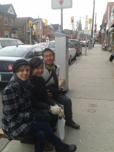 Jasmine (a fellow PTB contributor!), Jenny, and Johnny stop for a break along Locke St.