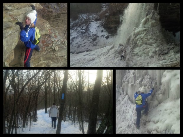 Climbing across a rock face, pseudo ice climbing, and a nice walk on a beautiful afternoon.