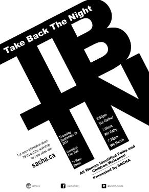 Poster for Take Back the Night - Date: September 18